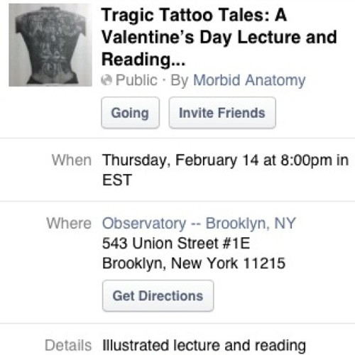 tattoohistorian:  NYC friends, join me and @mattlodder for our anti-Valentine's Day lecture/reading. Details in the FB event and links from the Tattoo History Daily FB page.