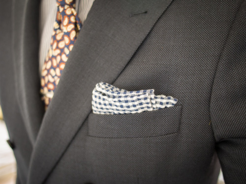 Spring-ish weather here calls for a cotton seersucker gingham pocket square. Jacket: Indochino in Navy Birdseye Wool, courtesy of Indochino Shirt: Proper Cloth, courtesy of Proper Cloth Tie: Breuer, gift Pocket Square: The Tie Bar, $8