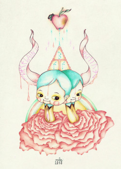 Porcelain BFF by MLA Watercolor, Ink & Color Pencil