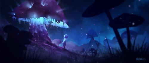 digital art painting mushroom surreal fantasy glow dark night