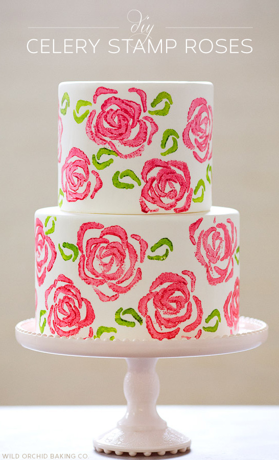 gastrogirl:  cake with diy celery stamp roses.