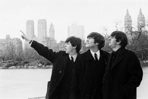Paul, John and Ringo (poor Georgie was too sick to go) at Central Park, February 1964. Ph: Dezo Hoffmann