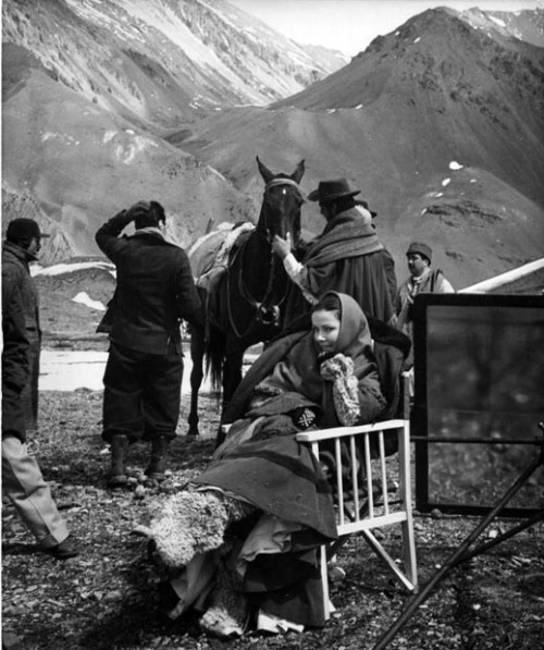 Gene Tierney bundles up to fight the cold on the Andes mountains location of Way of a Gaucho
