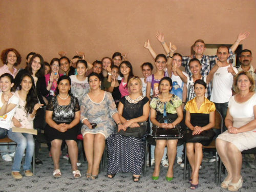 """We want to get the young members of rural Azerbaijan to start thinking outside of their daily scope of how men and women are seen and valued in Azerbaijan, and move into what is possible for the future of their country.""  Peace Corps Volunteers Rick Wiersma and Roxann Brown are working with members of their community to promote gender equality. Recently Wiersma and Brown held a group discussion on gender and development with more than 25 Azerbaijani students and community members in southern Azerbaijan. They reviewed the role of gender within families, women's rights and gender equality."