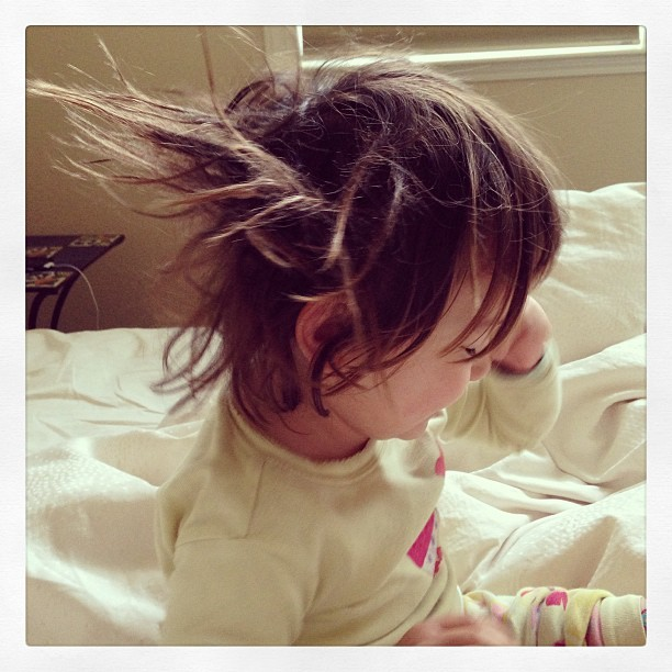 Alea with her morning Einstein hair.