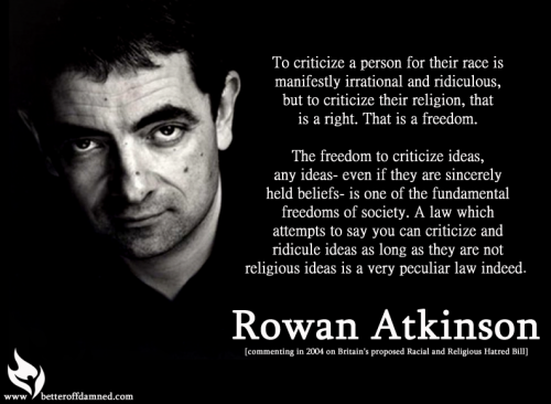 Rowan Atkinson looking normal, saying something awesome.