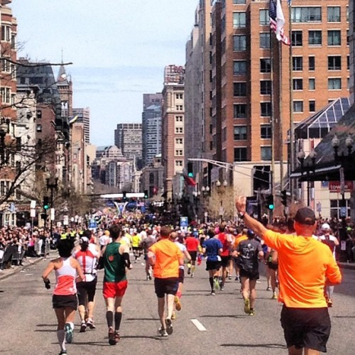 3:29! Beantown Boogie! #bostonmarathon  (at Boston Marathon Finish Line)