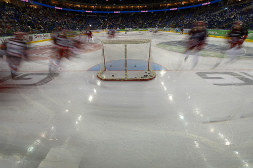 Eisbären Berlin v Kölner Haie by toksuede on Flickr.Hockey is such a blur.