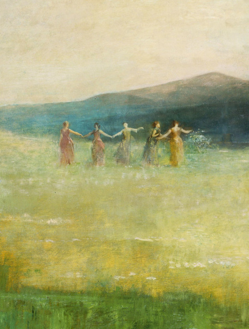 jaded-mandarin:  Spring - Thomas Wilmer Dewing. Detail.