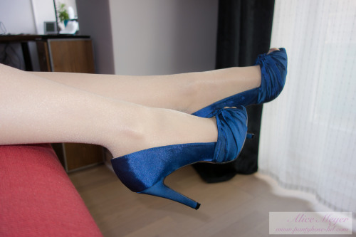 my new blue satin peeptoes & wolford satin touch  - www.pantyhose-hd.com