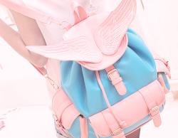 fashion kawaii edits backpack pink Korean fashion kfashion winged backpack hhotaru