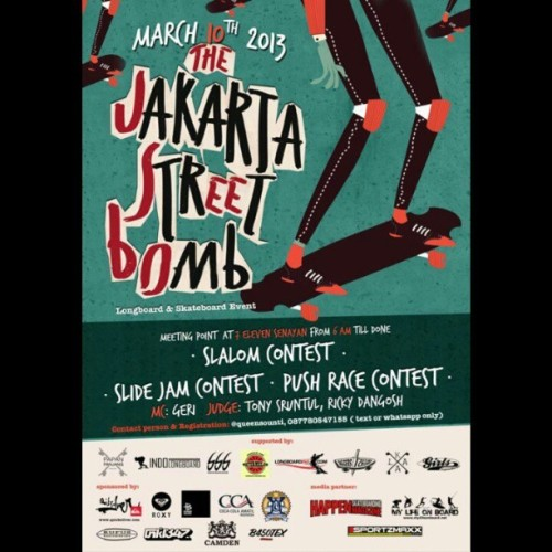Come and join us on  tomorrow mornings Jakarta Street Bomb! All double tails, cruisers and longboards are welcome! #crooz