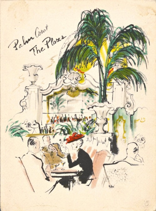 robyn-mizrach:  Menu cover from the Palm Court at the Plaza - circa '50s.