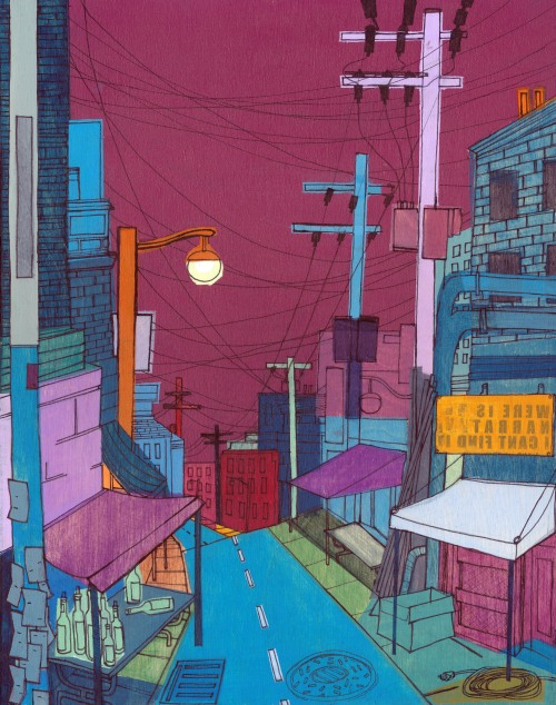 "robmcclelland:  ""Seoul City #2"" 11""x17"" acrylic & ink."