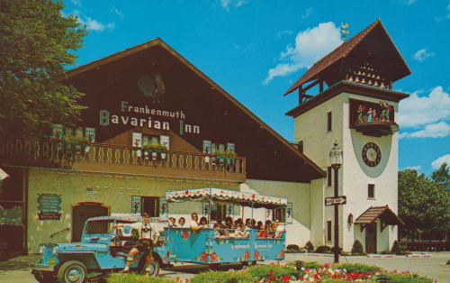 FRANKENMUTH, MICHIGAN  A German settlement known throughout the State for its chicken dinners, served harvester style, and its Frankenmuth beer. It was settled in 1845 by a group of Franconians from Bavaria and, later, by refugees from the unsuccessful German revolution of 1848. The neat village, spread out for some distance, has retained its German flavor; most of the inhabitants are descendants of the original settlers and speak the German language. —Michigan: A Guide to the Wolverine State (WPA,1941)  Postcard Key: 1. Maypole 2-4. Frankenmuth Bavarian Inn 5. The Fischer Opera Haus 6. Schnitzelbank Shop 7. Bavarian Festival 8. Bodenbender's Apfel Haus 9. Bronner's 10. The Edelweiss Trio * * *   Jordan Smith is the guide to ephemeral America for The American Guide. He currently works for the University of Notre Dame during the day and scans at night. He lives in South Bend, Indiana and you can find him on Flickr, his blog, or one of several Tumblr sites.