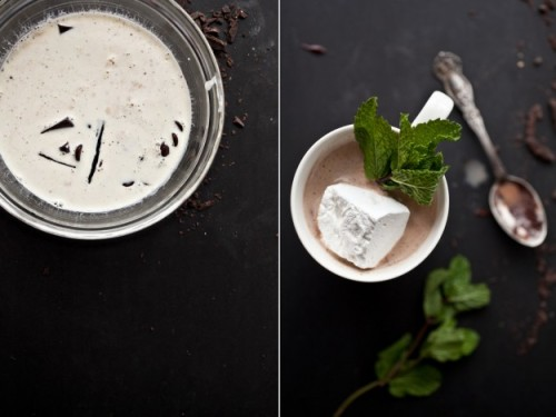 Fresh mint hot chocolate? Yes please! via Not Without Salt