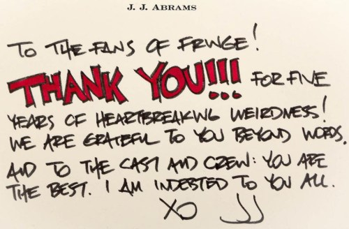 screenweek:  Fringe | A thank you message from JJ Abrams