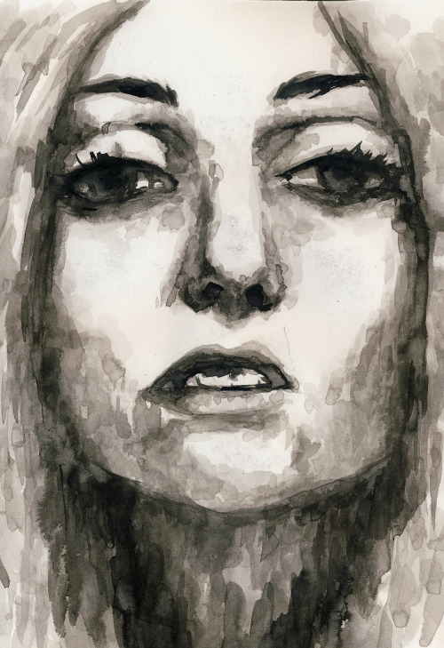 rebeccaproppe:  ink study based on a photo of Lady Gaga <3  reblogging for the weekend