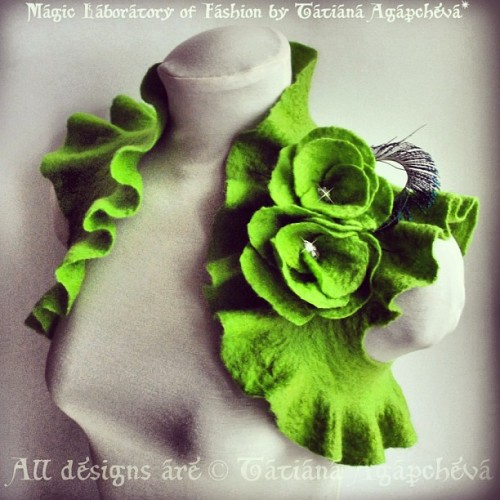 #fairy #lafeeverte #absinthe #felt #wool #bolero #shrug #rose #peacock #designer #etsy #wedding #apple #clearance #sale #discount #feltbolero #art #fiber #handmade