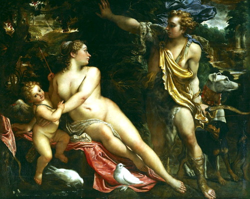 necspenecmetu:  Annibale Carracci, Venus, Adonis, and Cupid, 1590