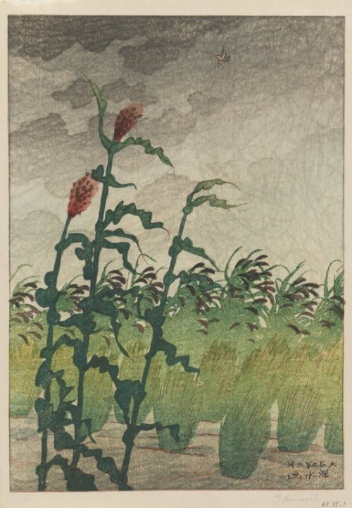 Yudachi (Evening Storm) 1920. Woodblock print by  (1898–1972). Brooklyn Museum via Wikimedia.