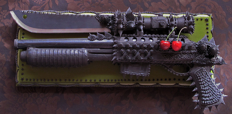 Exciting cake/assault weapon sculptures by Oakland-based artist Scott Hove, now on view at Spoke Art San Francisco.