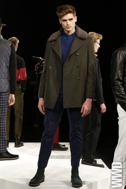 Timo Weiland Men's RTW Fall 2013 The designer showed men's and women's separately this season at Lincoln Center — and the men's wear was all the better for it.  For More For all WWD.com's Men's RTW coverage