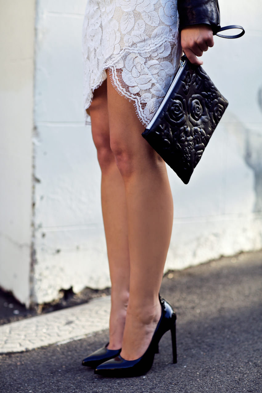 what-do-i-wear:  Lover lace dress, Saint Laurent heels, Christopher Kane clutch. (image: harperandharley)