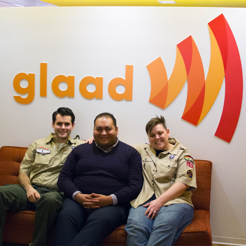 Today at GLAAD, Daniel Hernandez, the openly gay former intern credited with saving Rep. Gabrielle Giffords' life, met Zach Wahls and Jennifer Tyrrell, who are both working to end the Boy Scouts of America's ban on gay scouts and leaders. Tell the BSA to end the policy now: http://glaad.org/tellbsa