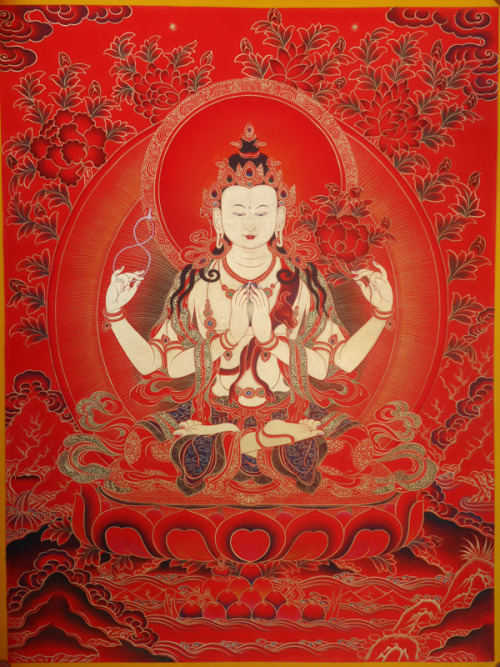 Avalokitesvara is a bodhisattva who embodies the compassion of all Buddhas. The six qualities of Avalokitesvara are:• Great compassion• Great loving-kindness • Lion-courage• Universal light• Leader of devas and human beings• The great omnipresent Brahman The mantra of Avalokitesvara is: Om Mani Padme Hum