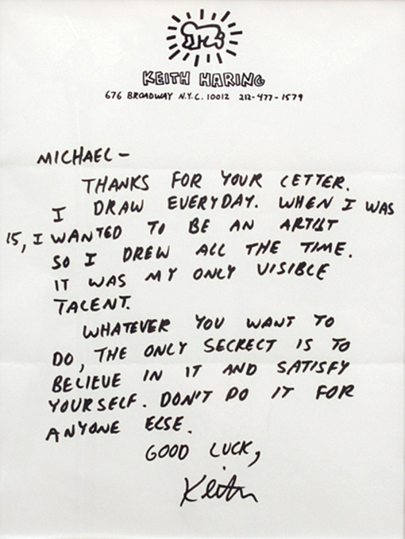 likeafieldmouse:  A letter from Keith Haring to an aspiring young artist