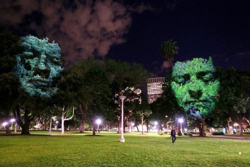 thecreatorsproject:  There are faces in the trees.   Clement Brend's tree projections explore the link between reality and imagination. Whatever you think of his artistic rationale, these projections of spiritual images on living nature are really stunning, and strangely moving.