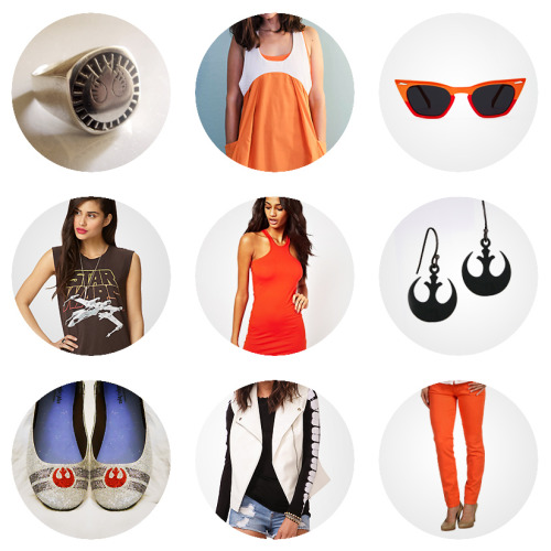 ourwhitehotroom:  Fashion Finds for the Trendy Geek — Rogue Squadron After last week's jaunt into joke Wraith Squadron outfits and Her Universe's exciting sneak peek of the upcoming Rogue Squadron hoodie tank, it looks like we've got some Star Wars going strong and X-Wing pilots locked on. So what better way to kick off Monday morning than a bright burst of X-Wing orange and Rebel Alliance gang signs. Rebel Alliance Ring  +  Rebel Pilot Sundress  +  Space Cat Shades X-Wing Muscle Tee  +  Racer Neck Dress  + Her Universe Earrings Rebel Alliance Shoes  +  White Moto Vest  +  Michael Kors Skinny Jeans —- whitehotroom.com is red five standing by