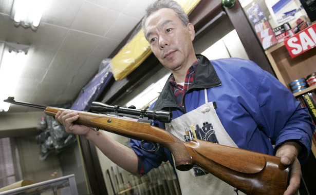 "A Land Without Guns: How Japan Has Virtually Eliminated Shooting Deaths  Even the most basic framework of Japan's approach to gun ownership is almost the polar opposite of America's. U.S. gun law begins with the second amendment's affirmation of the ""right of the people to keep and bear arms"" and narrows it down from there. Japanese law, however, starts with the 1958 act stating that ""No person shall possess a firearm or firearms or a sword or swords,"" later adding a few exceptions. In other words, American law is designed to enshrine access to guns, while Japan starts with the premise of forbidding it. The history of that is complicated, but it's worth noting that U.S. gun law has its roots in resistance to British gun restrictions, whereas some academic literature links the Japanese law to the national campaign to forcibly disarm the samurai, which may partially explain why the 1958 mentions firearms and swords side-by-side. Read more. [Image: Reuters]"
