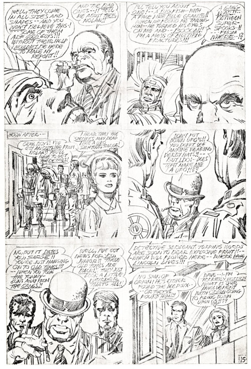 "Another trimmed photocopy of Jack Kirby pencil art - this time of page 15 of his story ""Spawn"" published by DC Comics in New Gods 5, dated October-November 1971."