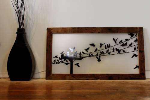 pseudoimpostor:  i made this:-Reclaimed Wood frame-Found tv screen-Street Silhouette Scene