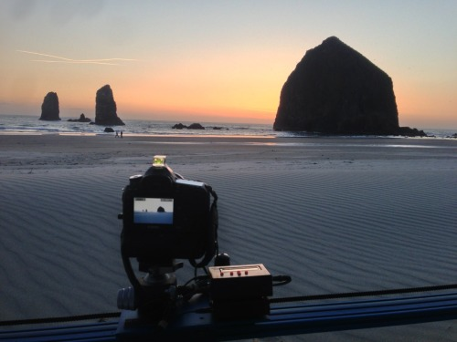 Sunset time-lapse at Cannon Beach.  Behind the scenes shot taken with an iPhone