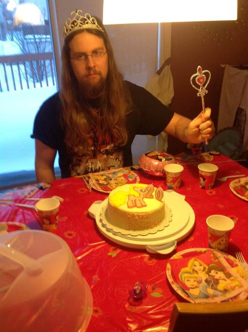 lolsofunny:  slavenewworld:  Yesterday was my birthday. My nephew picked out the party theme. He calls me princess. He also got me a my little pony doll.  (lol here!)