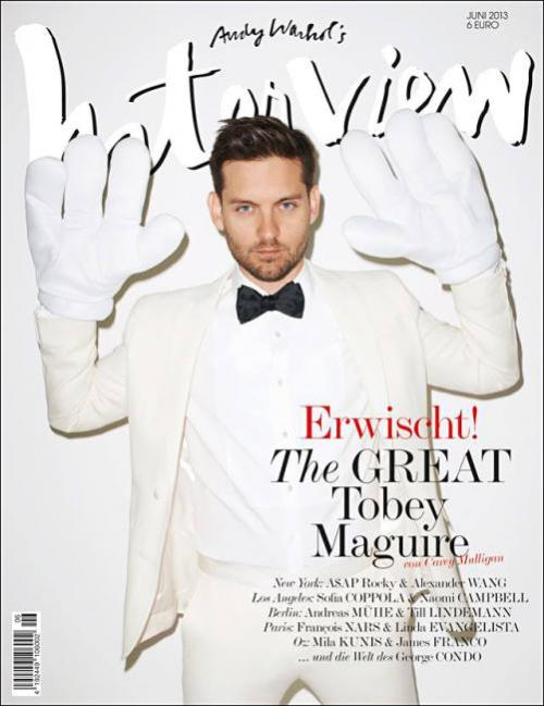 Interview (Germany) Tobey Maguire stars new German edition of Interview magazine Design by the unbelievable guys from Meiré und Meiré