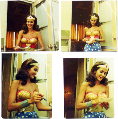 Lynda Carter signs autographs on the set of the Wonder Woman TV show c. 1970s