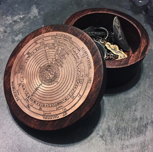 mod evil ptolemy jewelry box metalsmith handmade witch solar system modevil woodworking mahogany copper