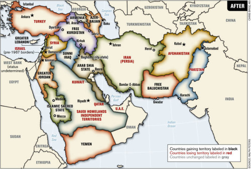 opaco:  Map of the Middle East Redrawn to Reflect Sectarian/Ethnic Boundaries, via reddit