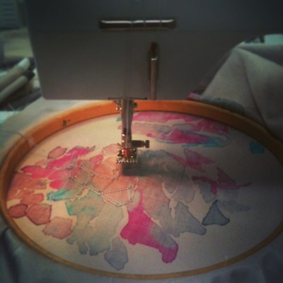 Work after my Trof treat! #stitch#machine#bernina#embroidery#handpaintprint#screenprint#reactivedyes#pintuck
