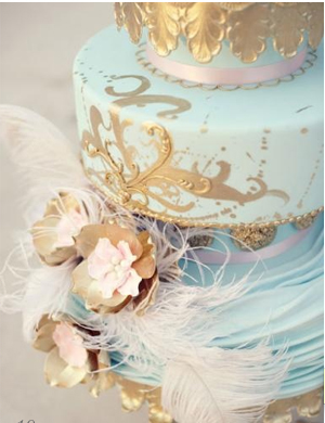 this cake is FANTASTIC. i always loved the gold and blue tones combo.