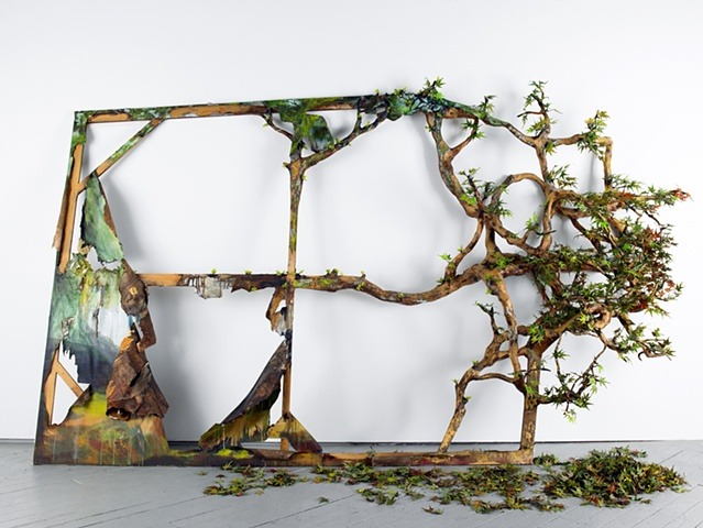 """In the Woods, Of the Woods"" by artist Valerie Hegarty. 2009 Wood, wire, plaster, paper mache, acrylic, canvas, artificial leaves 78"" x 11'3"" x 24"" For more from Valerie, visit:  http://valeriehegarty.com/"