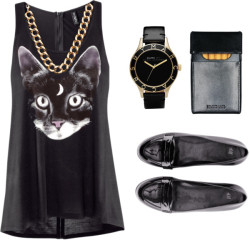misbehaved mistress by indie-rabbit featuring logo watches ❤ liked on PolyvoreH&M  top, $15 / H&M flat heels, $46 / Marc by Marc Jacobs logo watch / Gogo Philip chain link jewelry, $30