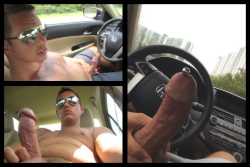 hairyexhibitionist:  More of me pulling out my fat cock in the car.