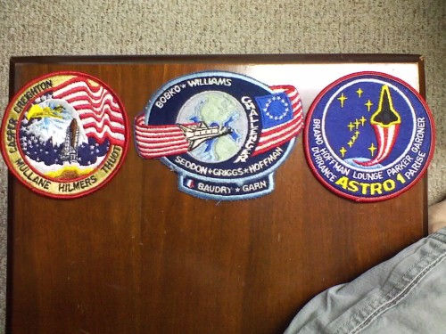 "senior-crown:  I bought these 3 patches for the price of 1. I only bought it because of the STS-51E patch, a much sought-after prize among the NASA community (STS-51E was cancelled in 1985). The patch itself usually goes for around $40-$90. I already have a stash of STS-35's and I'm looking for a different version of STS-36 (where ""Thuot"" is misspelled), so if anyone is willing to buy or trade one of their patches with either 35 or 36, let me know.  Sweet patches! (I don't think I have anything to trade, though.)"
