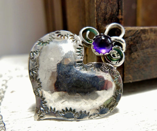 Just gorgeous!  From the Mind Body Spirit Marketplace - Amethyst Heart Pendant from wwcsilverjewelry on Etsy https://www.facebook.com/MindBodySpiritMarketplace?ref=hl