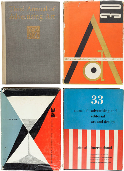 Annual of Advertising Art. New York: Art Directors Club of New York, [1924-1966] - These issues celebrate the finest in advertising art, featuring such artists or photographers as Arthur Rackham, Norman Rockwell, Edward J. Steichen, Miguel Covarrubias, Diane and Allan Arbus, and Thomas Hart Benton.